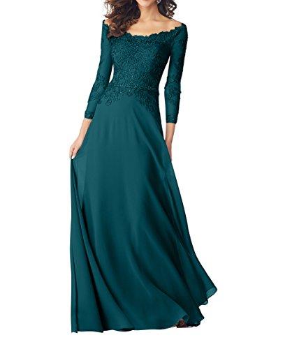 A Spitze Abendkleider Rock Linie Damen Charmant Gruen Brautmutterkleider Blau Hochwertig 2018 Langarm Partykleider Neu Chiffon YWvnqnwfgS