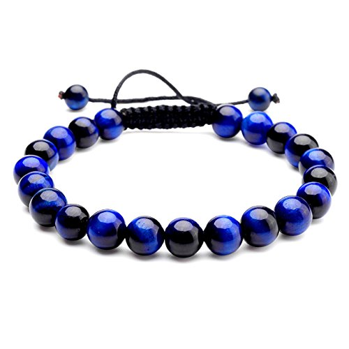 Blue Black Tiger - JOVIVI 8MM Birthstone Gemstones Healing Power Crystal Macrame Adjustable Beaded Bracelet, Unisex (Blue Tiger Eye with Black Rope)