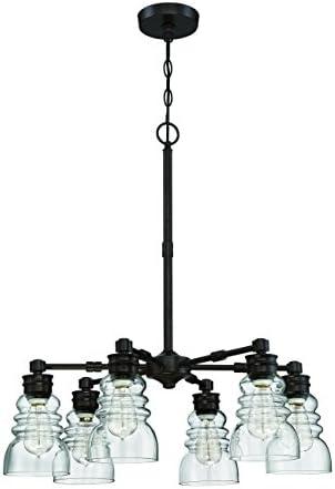 Litex CH46-6OSB 6 Light Modern Chandelier Pendant Ceiling Light Fixture, 5.5 x 5.5 x 46