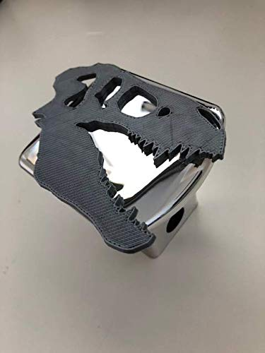 Chrome Skull Hitch - LicensePlateFreak T-Rex Skull in 3D - 2 inch Trailer Hitch Cover Chrome with Grey - Dinosaur Tyrannosaurus