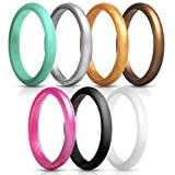 du fangbin Silicone Wedding Ring for Women, Thin Rubber Wedding Bands, Colorful, Skin Safe | 7 Pack & Singles 2.7mm Width - 2mm Thick (6)