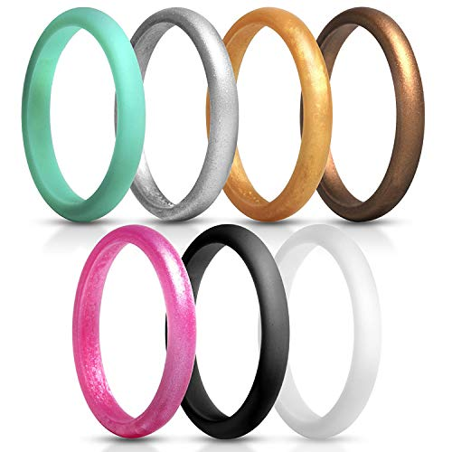 du fangbin Silicone Wedding Ring for Women, Thin Rubber Wedding Bands, Colorful, Skin Safe | 7 Pack & Singles 2.7mm Width - 2mm Thick (6) by du fangbin