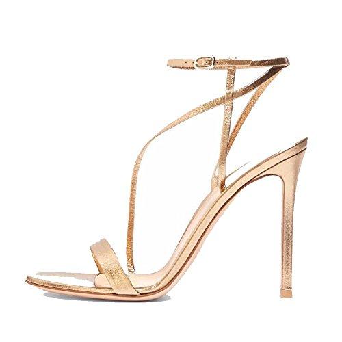 (L@YC Women Gold Banded High Heels Platform Striped Combination Comfortable Sandals/Gold/Black, Gold,)