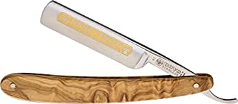 DOVO Inox Straight Razor with Olive Wood Handle 5/8 Inch, 10 g.