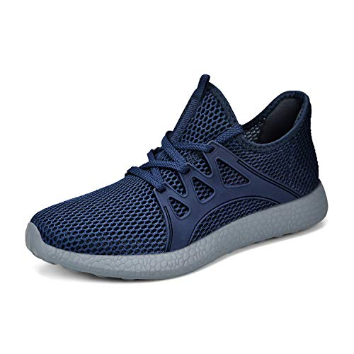 Simasoo Running Shoes for Women Ultra Lightweight Breathable Mesh Street Sport Casual Walking Sneakers Blue/Grey Size 7