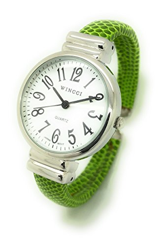 Ladies Snakeskin Leather Bangle Cuff Watch Round Case White Dial Wincci (Green)