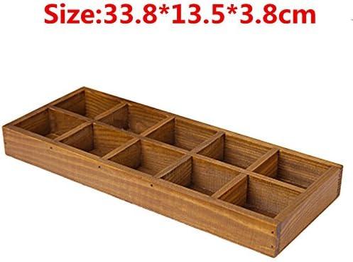 YAOHM 12 Ranuras Cajón de Madera Organizador Cubiertos Bandeja Plantación Caja de Almacenamiento Pluma Soporte para lápices Contenedor,B: Amazon.es: Hogar