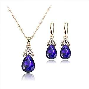 Kuke Woman Girl Necklace Earrings Set Diamond Water Droplets Pendant Style Elegant Women Jewellery Necklace Chain of Crystal Necklace +Earrings Set (Blue) ColorBlue