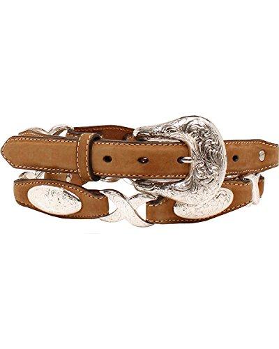 Silver Link Concho Belt (Ariat Women's 1'' Oval Conchos Linked Belt, Tan, L)