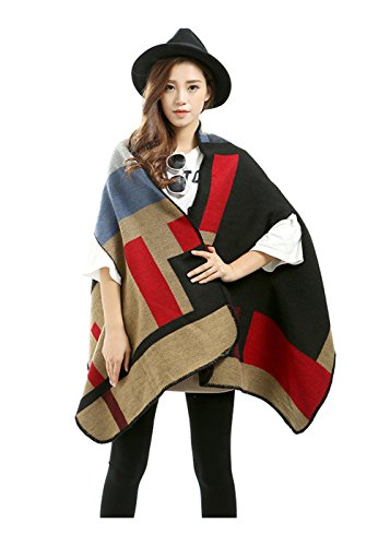 RuSong Womens Plaid Pattern Pashmina Wrap Shawl Infinity Scarf Poncho Cape Cardigans (Geometry / Red) (Trico Pack)