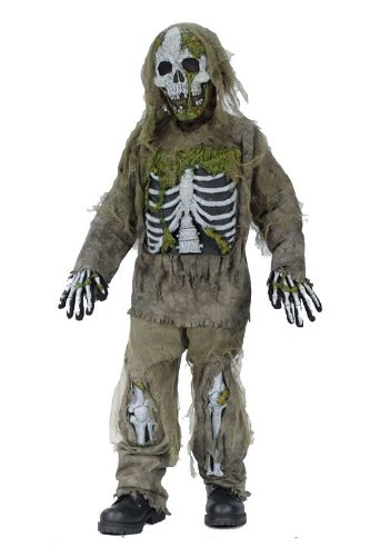 [Fun World Skeleton Zombie Child Costume, Large (12-14)] (Skeleton Halloween Costume Child)