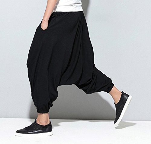 Pantalon Gym100 Sarouel Crotch Zipper A Hippie Ellazhu Big Noir Homme Dance xqYB8Z0