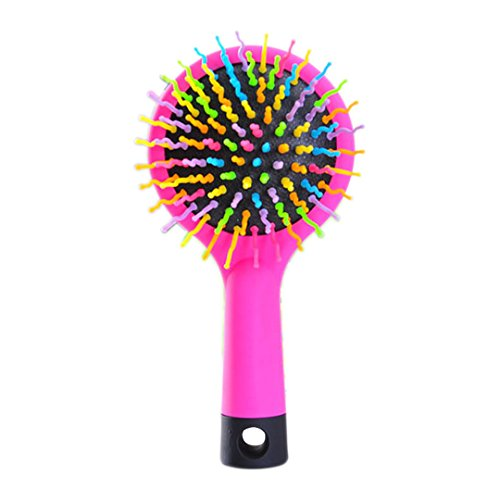 (Hair Comb Professional Rainbow Comb Volume Anti-Static Hair Curl Straight Massage Comb Brush Mirror Styling Pink)