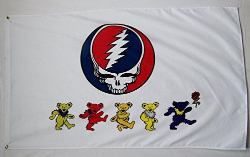 Grateful Dead Bear Flag - Grateful Dead Dancing Bears Flag 3' X 5' Indoor Outdoor Premium Concert Banner