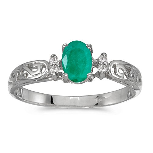 FB Jewels 10k White Gold Genuine Green Birthstone Solitaire Oval Emerald And Diamond Wedding Engagement Statement Ring - Size 7.5 (0.31 Cttw.) ()
