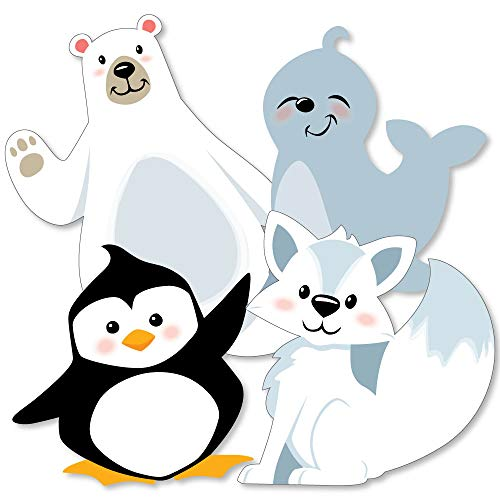Arctic Polar Animals - Polar Bear, Seal, Penguin and Arctic Fox Decorations DIY Winter Baby Shower or Birthday Party Essentials - Set of 20 -