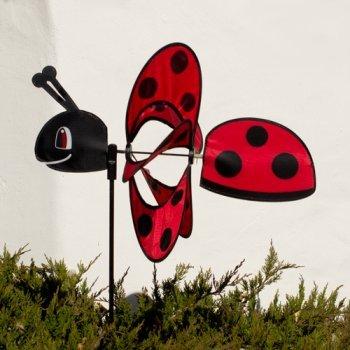 CIM Girouette - Magic Ladybird - Hélices: Ø28cm, Motif: 35x13cm, Hauteur totale : 85cm – résiste aux UV et aux intempéries – incl. tige en fibre de verre
