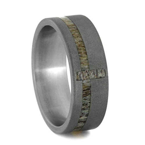 Deer Antler Cross 8mm Comfort-Fit Sandblasted Titanium Wedding Band, Size 11.5 by The Men's Jewelry Store (Unisex Jewelry)