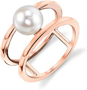 7mm White Freshwater Cultured Pearl Rose Plated Ora Ring