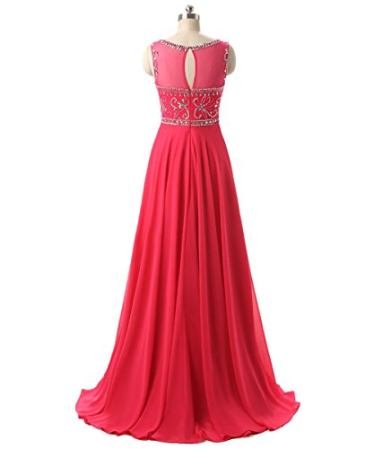 Beading Chiffon Prom Long Callmelady Neck Fuchsia Gowns Dresses Evening Sheer AfwxnSE