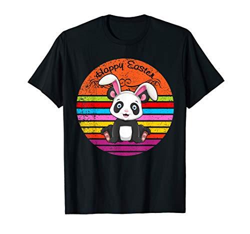 (Vintage Panda Bear Easter Eggs Basket Easter Bunny T Shirt)