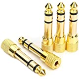 Devinal Professional 6.35mm 1/4 inch Plug to 3.5mm 1/8 inch Jack Gold Plated TRS AUX Stereo Audio Headphone Jack Adapter Converter Connector(5 Pack)