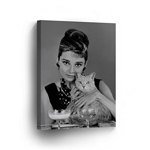 Her Movie Poster - Audrey Hepburn Wall Art CANVAS PRINT and her Cat Breakfast at Tiffany's Movie Black and White Portrait Iconic Decoration Framed Home Decor Stretched and Ready to Hang -%100 Handmade in USA - 17x11