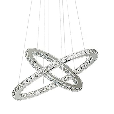 60 cm 2 anneaux cristal lustre avec cristaux blanc diamètre plafonnier suspendu