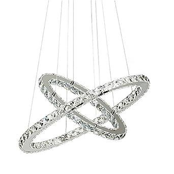 qualité et quantité assurées invaincu x plus près de 60 cm 2 anneaux cristal lustre avec cristaux blanc diamètre plafonnier  suspendu