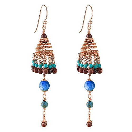 Novica Jasper Ring - NOVICA Rose 14k Gold Plated Silver Chandelier Earrings, Marvelous Rain'