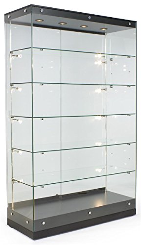 Displays2go Tall Illuminated Glass Showcases, Tempered Glass Painted MDF, Convertible Shelves - Black (GTAP48BLKT) ()