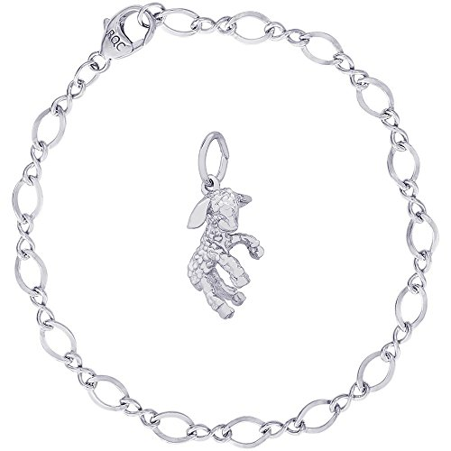 Rembrandt Charms Sterling Silver Lamb Charm on a Figure Eight Link Bracelet, 7
