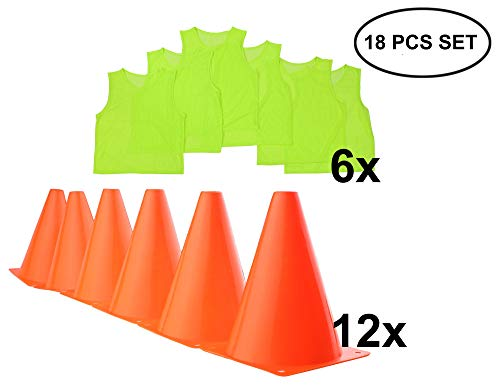 (Soccer Cone Training Drill Pennies - Youth Practice Jersey Kids Trainer Pinnies Scrimmage Vest Agility Coaching Equipment Football Markers Pinny Disc Basketball Boy Today's Deal Placement VIZIONSTAR)
