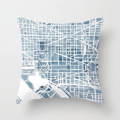 New Throw Pillow Cover pillowcases New Washington Dc Blueprint Watercolor Pillowcase Home Decoration pillowcase by Throw Pillows Pillowcase