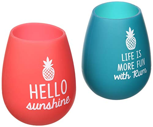 Pavilion Gift Company 73223 - Life is More Fun with Rum - Hello Sunshine -  Pink & Teal - Pineapple - Silicone Wine Glass Set of 2, 13 oz