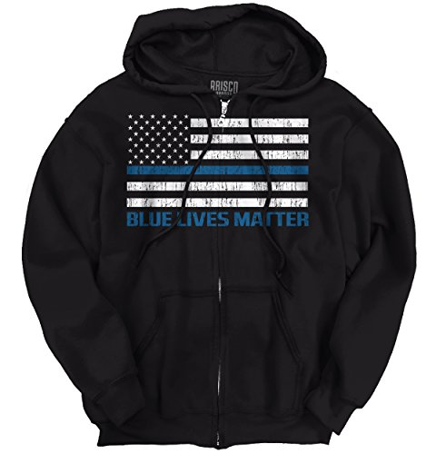 Pro Life Sweatshirt (Blue Lives Matter Thin Blue Line Flag Police Cops Support Zip)