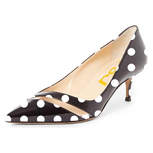 Fsj Donne Comode Scarpe A Punta Chiara Gattino Tacchi Bassi Slip On Office Scarpe Da Donna Taglia 4-15 Us Dots
