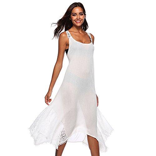 Bonboho Sangle Robe Sexy Femmes Dentelle Backless Robe D'été Robe Maxi Bohème Blanc