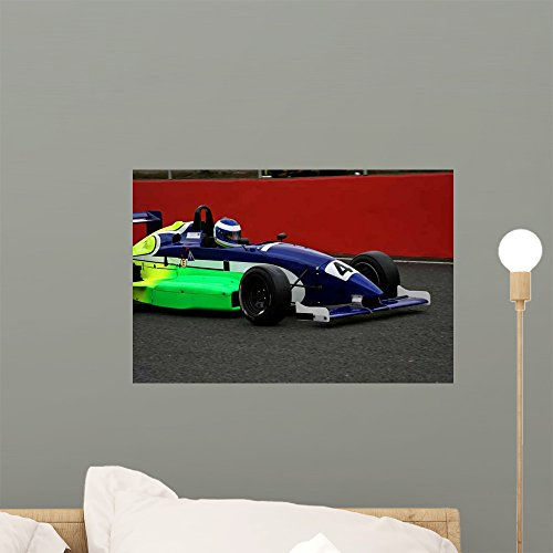 Wallmonkeys WM77089 Car Driving Through Race Track Peel and Stick Wall Decals (18 in W x 12 in H), Small ()