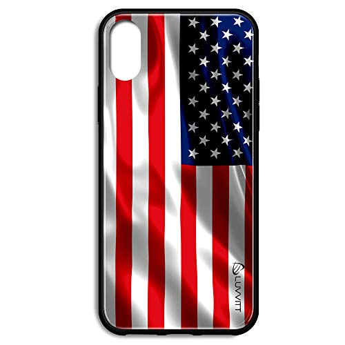 United Stripe (iPhone Xs Max Case Glass American Flag Back Cover US United States of America Stars and Stripes Design for Apple iPhone Xs Max 6.5 inch 10S Max 2018)