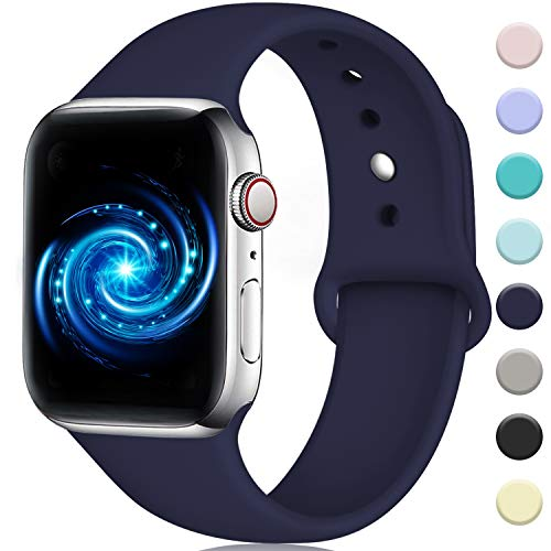 (Rabini Compatible with Apple Watch Band 44mm 42mm, Replacement Accessory Sport Band for iWatch Apple Watch Series 4, Series 3, Series 2, Series 1, Navy Blue, M/L )