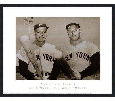 Poster Palooza Framed American Hero's Joe DiMaggio & Mickey Mantle- 30x26 Inches - Art Print (Classic Black Frame) ()