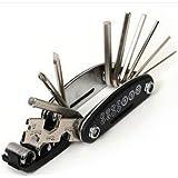 自転車工具セット 六角レンチ チェーンカッター 19の機能 コンパクト 携帯用 ブルー