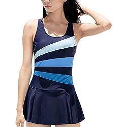 DANIFY Women's One Piece Swimming Suit Slimming Bathing Suit Tummy Control Swim Dress Blue XL (US size:16-18)