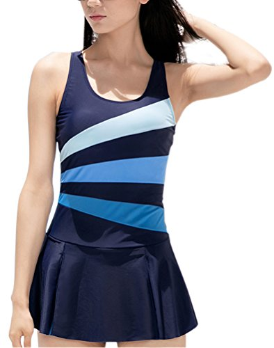 Women's One Piece Slimming Tummy Control Swimdress Tankini Swimsuit
