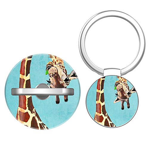 COOLLER Phone Ring Holder, 2 Pack Finger Ring Stand Phone Grip Kickstand Cell Phone Stand for Universal Smartphone Car Mount Hooks iPhone/Samsung Galaxy/iPad - Giraffe