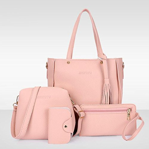 Leather Tassels Women Handbag Pink Bags 1set Pu Bag 4pcs Kiicn Lady Shoulder Purse Tote q1vRSz