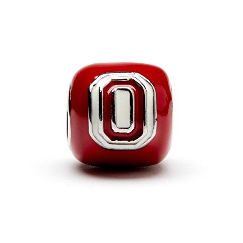 Ohio State University Charm | OSU Buckeyes - Red Block O Bead Charm | Officially Licensed Ohio State University Jewelry | OSU Logo | OSU Football | OSU Charms | Stainless Steel