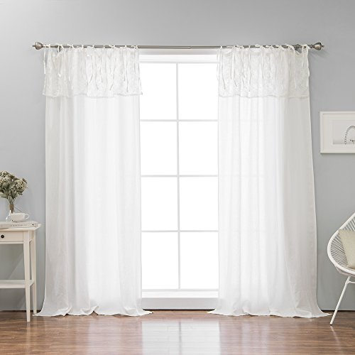 Linen Curtain with Lace Valance - Tie Top - 52