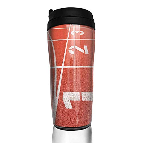 (coffee cups holder Olympics Decorations Collection,Close Up of Numbers on Racetrack Lines Stadium Ground Determination Success Art,Coral White 12 oz,coffee warmer for car cup holder)